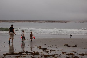 Shannon, Cooper and Caden walking to the water