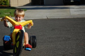 Caden on his new big-wheel