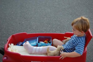 Caden in his new living space - a wagon