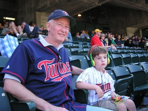 Cooper and Grandpa in 2008 at a A's/Twins game